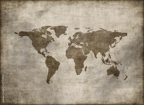 classic vintage old grunge world map © Jezper