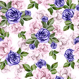 Beautiful watercolor pattern with peony flowers and anemones. - 217600320
