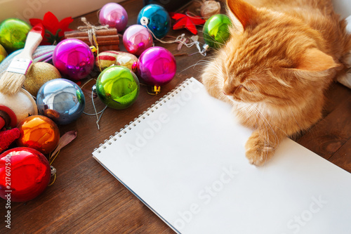 Foto Spatwand Kat Cute ginger cat lying on clear paper page among Christmas and New Year decorations - bright colorful balls. Notepad paper for to-do-list or New Year promises.