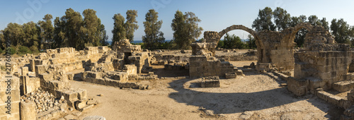 In de dag Cyprus Panorama of Saranta Kolones ancient fortress ruins in Paphos Archaeological Park, Cyprus