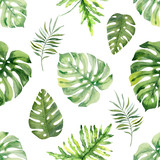 Watercolor hand painted seamless pattern of tropical leaves and  flowers. - 217612398