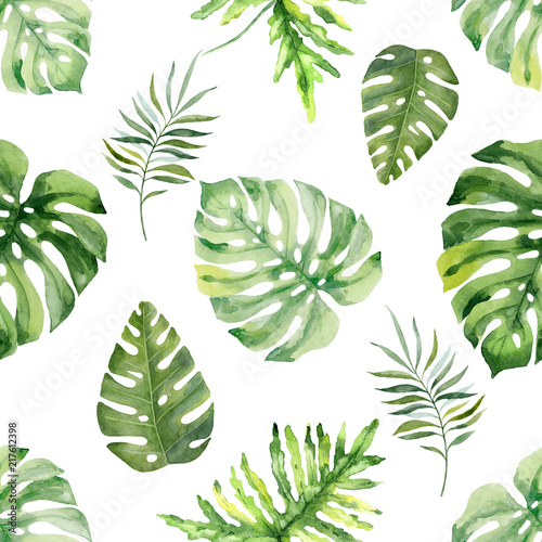 fototapeta na ścianę Watercolor hand painted seamless pattern of tropical leaves and flowers.