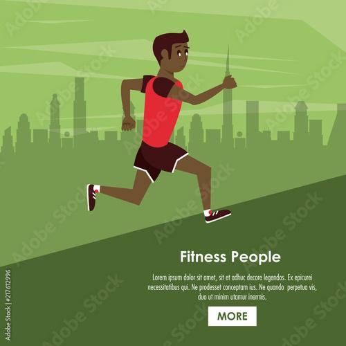 Sticker Fitness man running at city cartoon poster with information vector illustration graphic design