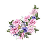 Watercolor wedding bouquet with peony flowers and anemon.  - 217614305