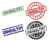 UNHEALTHY seal prints with damaged style. Black, green,red,blue vector rubber prints of UNHEALTHY text with dirty style. Rubber seals with round, rectangle, medal shapes.