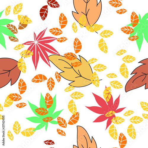 pattern Pack of pretty autumn leaves and flowers - 217624515