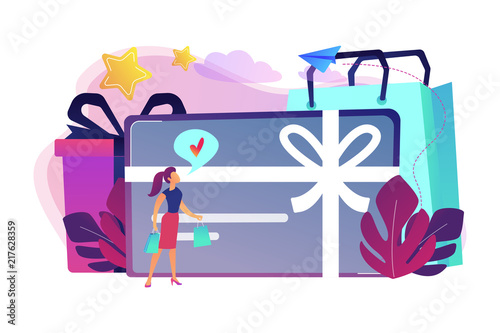 gift card with bow and ribbon gift box and woman loving shopping shopping certificate - Prepaid Cash Card