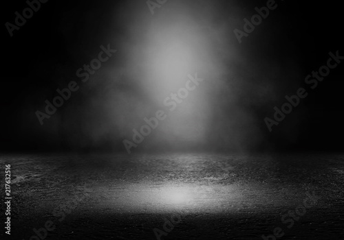Background of an empty dark room. Empty walls, lights, smoke, glow, rays - 217632516