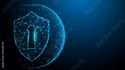 Security Shield protection form lines, triangles and particle style design. Illustration vector