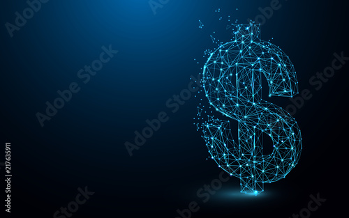 USD Money icon form lines, triangles and particle style design. Illustration vector
