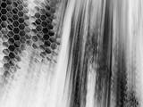 Abstract monochrome glass texture. Geometric fractal background. Fantasy digital art. 3D rendering.