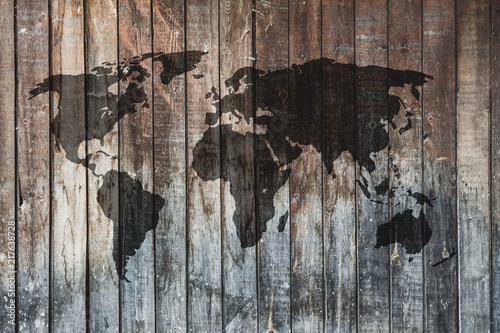 Foto Murales map on old wall