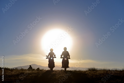 Foto Murales great motorbike trip and wonderful sunrise
