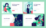 Set of web page design templates for beauty, spa, wellness, natural products, cosmetics, body care, healthy life. Modern vector illustration concepts for website and mobile website development.  - 217647793