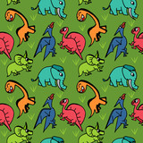 Dinosaur cute seamless drawing contour for kids and children.