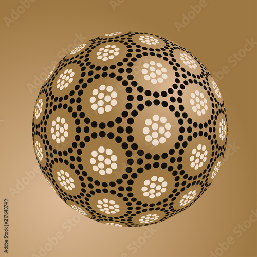 asian style floating sphere with dots pattern in golden shades