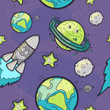 Seamless Pattern Funny Cosmos