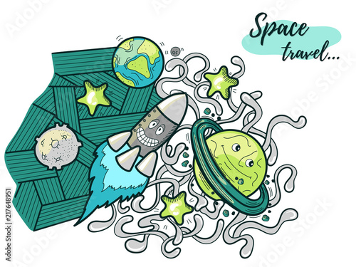 Funny Cosmos Doodle Illustration