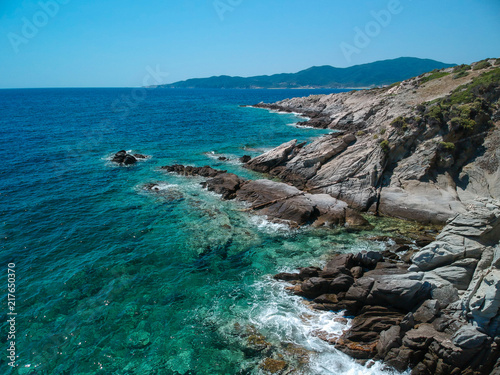 Foto Murales Sunny clear sea water from above