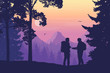 Two tourists, man and woman with backpacks together standing in the woods looking for a path on the map, mountain landscape with flying birds, purple sky, rising sun and clouds