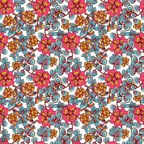 pattern of flowers and leaves - 217654376