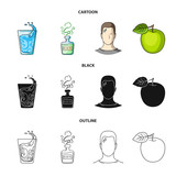 A glass of water, a bottle of alcohol, a sweating man, an apple. Diabeth set collection icons in cartoon,black,outline style vector symbol stock illustration web.