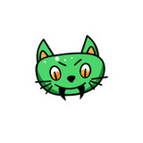 Green cat face with fangs