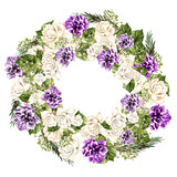 Watercolor Wreath with white  and purple rose.  - 217661155