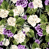 Beautiful  watercolor pattern with white roses and purple peony.  - 217661165
