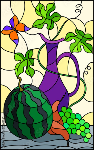illustration-in-stained-glass-style-with-still-life-fruits-berries-and-pitcher-on-ight-background