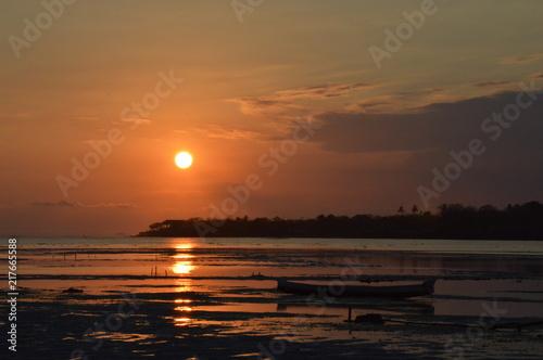 Canvas Zee zonsondergang Un voyage à Bali