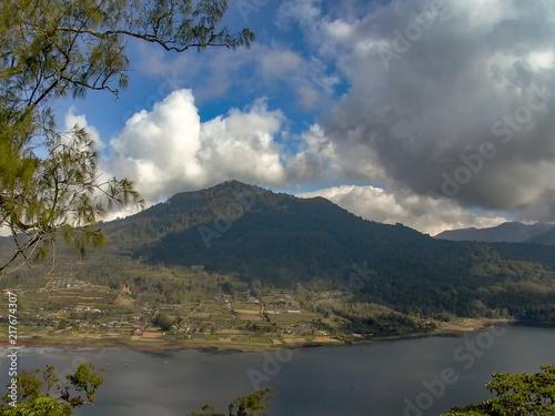 Fotobehang Bali view to lake tamblingan with small village in Bali