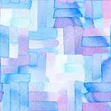 Seamless pattern with abstract geometric figures.  Watercolor line-spots merge smoothly into one  blue and violet  pattern. - 217675716