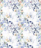 Seamless pattern with abstract geometric triangles. Watercolor spots, shapes, beautiful paint stains like cosmic nebula. Background for parties, holidays, birthdays. - 217676904