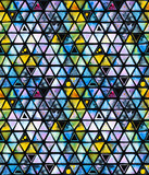Seamless pattern with abstract geometric triangles, bee honeycomb. Watercolor spots, shapes, beautiful paint stains like cosmic nebula. Background for parties, holidays, birthdays. - 217676999