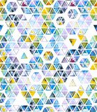 Seamless pattern with abstract geometric triangles, bee honeycomb. Watercolor spots, shapes, beautiful paint stains like cosmic nebula. Background for parties, holidays, birthdays. - 217677191