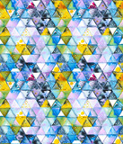 Seamless pattern with abstract geometric triangles. Watercolor spots, shapes, beautiful paint stains like cosmic nebula. Background for parties, holidays, birthdays. - 217677301