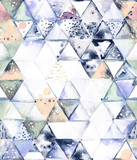 Seamless pattern with abstract geometric triangles. Watercolor spots, shapes, beautiful paint stains like cosmic nebula. Background for parties, holidays, birthdays. - 217677324