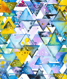 Seamless pattern with abstract geometric triangles in chaotic order. Watercolor spots, shapes, beautiful paint stains like cosmic nebula. Background for parties, holidays, birthdays. - 217677396