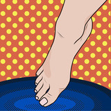 Pop art Female foot falls into hot or cold water.