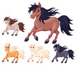 Set of different cartoon horses