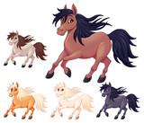 Set of different cartoon horses