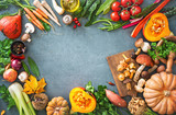 Healthy or vegetarian nutrition concept with selection of organic autumn fruits and vegetables - 217679766