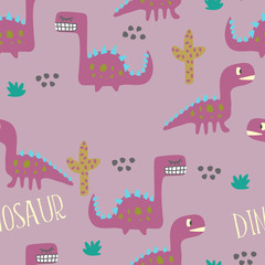 Dinosaur seamless pattern design.
