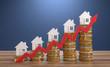 Leinwanddruck Bild - 3D Illustration steigende Immobilienpreise