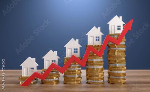 Leinwanddruck Bild 3D Illustration steigende Immobilienpreise