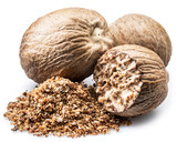 Dried seeds of fragrant nutmeg and grated nutmeg  isolated on white background. - 217681755
