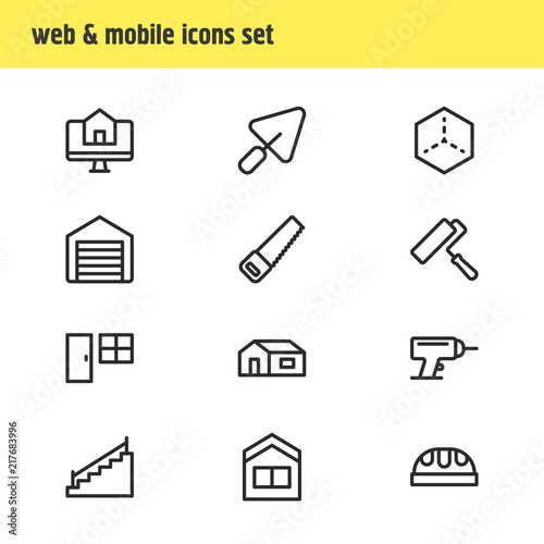 Vector Illustration Of 12 Architecture Icons Line Style Editable