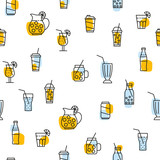 seamless pattern with beverages icons - 217688114