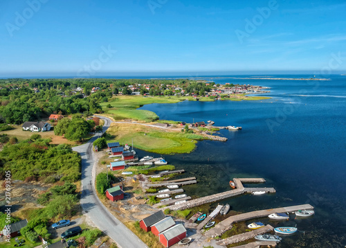 Foto Spatwand Blauw Summer aerial view of Hasslo sea coast